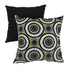 16.5 Eco-Friendly Virgin Recycled Decorative Medallion Throw Pillow -Green/Blue