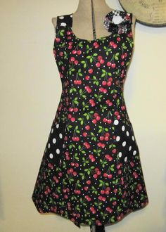 cherries and dots.   Reversible to black with dots.
