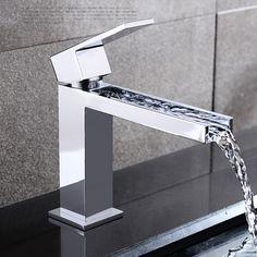 Contemporary Waterfall Brass Chrome Centerset Chrome Finish Waterfall Bathroom Sink Faucet - chryssa home decor Bathroom Sink Faucets, Bathroom Fixtures, Concrete Bathroom, Bathroom Lighting, Taps Bath, Bathroom Chair, Stone Bathroom, Basin Taps, Bathroom Mirrors
