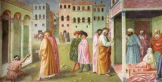 Masolino - La Guarigione dello storpio e resurrezione di Tabita è un affresco di Masolino facente parte della decorazione della Cappella Brancacci nella chiesa di Santa Maria del Carmine a Firenze. L'opera, databile al 1424-1425 circa (260x599 cm), ritrae due miracoli di san Pietro avvenuti in tempi e luoghi diversi (atti degli Apostoli III, 1-10 e IX, 36-41) e si trova nel registro mediano della parete destra.