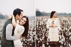Unique Engagement Pictures in the Rain. Cotton Fields. #FranklinTN #cottonfield #FallEngagementPhotos #FilmPhotography #Contax645
