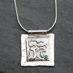 Silver 18ct gold and emerald pendant with by DeborahJonesJewelry, £68.00
