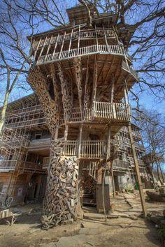 Construída por pastor, maior casa na árvore do mundo tem 80 cômodos