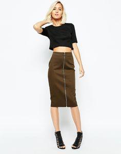 River Island Zip Front Pencil Skirt