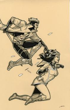 "pereperezart: ""Rogue and Gambit commission. "" Marvel"