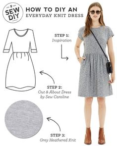 Outfit – Everyday Knit Dress Such a cute DIY fashion sewing tutorial idea! More free sewing patterns and ideas at .auSuch a cute DIY fashion sewing tutorial idea! More free sewing patterns and ideas at . Dress Sewing Patterns, Sewing Patterns Free, Free Sewing, Clothing Patterns, Skirt Sewing, Skirt Patterns, Coat Patterns, Blouse Patterns, Sewing Paterns
