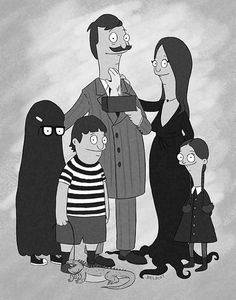 Belcher family from Bob's Burgers as the Adams family. Bob's Burgers Halloween, Bobs Burgers Costume, Bobs Burgers Funny, Halloween Humor, Fall Halloween, Bobs Burgers Wallpaper, Addams Family Cartoon, Cartoon Familie, Belcher Family