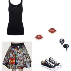 Marvel chick outfit  by wolfie112-99 on Polyvore featuring polyvore fashion style Juvia Converse Kate Spade
