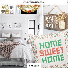 """Evim evim güzel evim! Dekoratif objeler arasında en çok ilgi gören """"evim """" yazıları bir çığ gibi büyüyor! Mutfaktan duvarlara, dekorasyonlara sıcak ve samimi bir detay katan bu objelere siz de evinizde yer açmaya ne dersiniz? #dekorazoncom"""