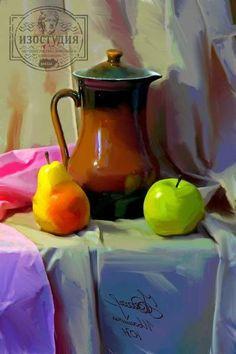 Живописный натюрморт гуашью, «Кувшин с яблоком и грушей». Уроки живописи гуашью в Днепропетровской художественной изостудии