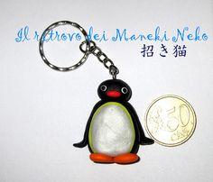 Portachiavi handmade Pingu (è accanto ad una moneta per farne capire le dimensioni) #pingu