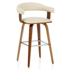 Get a truly contemporary look with the Ontario Walnut Bar Stool White. Effortlessly combining rich walnut finished bentwood with chic white faux leather.
