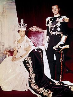 Prince Philip and Queen Elizabeth II - the queen's official coronation ceremony took place at London Westminster Abbey on 2 June 1953