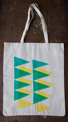 Cotton Tote bag - Screen printed in Green and Yellow. £10.00, via Etsy.