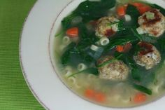 ITALIAN WEDDING SOUP from Annie's Eats. This stuff is incredible. Make sure to do the meatballs from scratch, because they have such great flavor. Mmm....