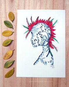 Warrior nature girl. Illustration. Art Print. by Toshisworld, $10.00