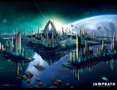 World Of Fantasy And Imagination Which Depict Future Cities (Dreamy Artworks) Fantasy City, World Of Fantasy, Space Fantasy, Futuristic City, Futuristic Architecture, Sci Fi City, Space City, Spaceship Concept, Alien Concept