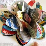 recycled magazine pages! Wonderful idea! Cooking mags for kitchen flower decorations at the table? I'm so doing this! (Gift ideas too... oooh)