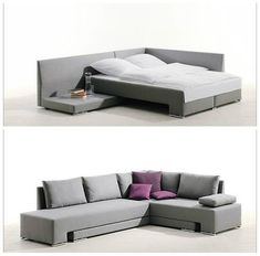 Compact corner sofa + loungers transforms into a snug comfort zone, two single beds or a fully fledged double bed. Space Saving Beds, Space Saving Furniture, Home Furniture, Furniture Design, Small Space Living, Small Spaces, Living Spaces, Table Convertible, Compact Living