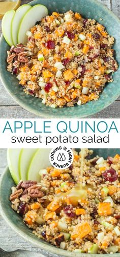 quinoa recipes Healthy is the name of the game with this Apple Sweet Potato Quinoa Salad with crunchy apples and pecans, roasted sweet potatoes, dried cranberries and quinoa. Whole Food Recipes, Diet Recipes, Vegetarian Recipes, Cooking Recipes, Healthy Recipes, Recipes With Quinoa, Tasty Salad Recipes, Quinoa Dinner Recipes, Recipes With Sweet Potatoes