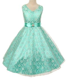 Look at this Mint Cap-Sleeve Belted Dress - Toddler & Girls on #zulily today!