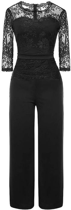 Bekleidung, Damen, Jumpsuits Dress Outfits, Cool Outfits, Dresses, Frack, Lace Jumpsuit, Spring Tops, Overall, Quarter Sleeve, Fashion Prints