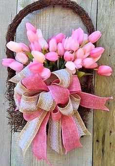 PINK TULIPS BOUQUET & BURLAP BOW BASKET DOOR WREATH BOW~NEW~FREE SHIPPING | Home & Garden, Home Décor, Floral Décor | eBay!