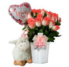 Arreglo Floral Rosado - $125.000 [25 Rosas bicolor, Peluche y Globo.]