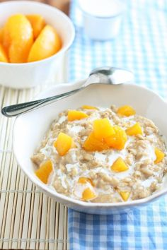 Peaches and Cream Oatmeal. We used canned peaches and this came out great. I microwaved it for an additional 30 secs after I added my fruit.