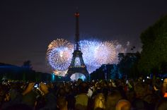Bastille Day fireworks/70's theme, disco ball 2nd. level of tower. Great photo. Paris Daily Photo