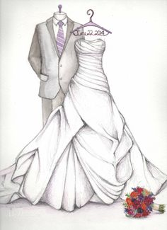 First Anniversary Gift - Wedding Dress sketch with Groom and bouquet by Catie Stricker-Howell
