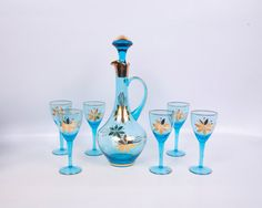 Vintage Romania Decanter Turquoise Crystal by LeVintageGalleria Wine Decanter Set, Carafe, Blue Stain, Aqua Blue, Romania, Vases, Tea Cups, Floral Design, Turquoise