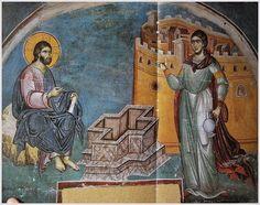 Jesus and the Samaritan woman. Fresco Manuel Panselinos. Temple of Protaton, Karyes Mount Athos.