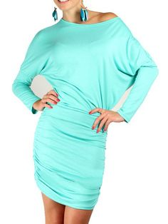 Sky Blue Batwing Sleeve Ruched Bodycon Dress | Choies