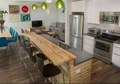 Apartment kitchen Open concept.  Love that wood