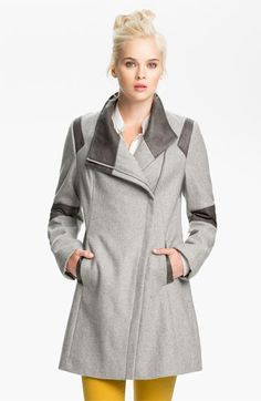 Calvin Klein Faux Leather Trim Walking Coat available at #Nordstrom
