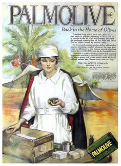 Vintage Ad for palmolive 1919 Old Posters, Posters Vintage, Vintage Advertising Posters, Images Vintage, Retro Poster, Old Advertisements, Poster Ads, Retro Ads, Print Advertising