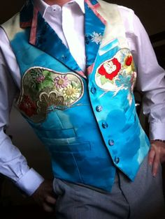 "Single breasted mens waistcoat vest  Silk embroidered MUM design fronts, patchworked collar and lapel 41"" chest  40"" waist"