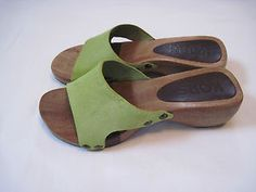 MICHAEL KORS Wooden Clogs Mules Lime Color 6 M Size Slippers Summer Footwear