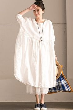 Fabric: Fabric has some stretch Season: Autumn, Spring, Summer Type: Dress Pattern Type: Plain Sleeve Length: Long Sleeve Color: White Style: Casual Material: Cotton Linen Neckline: One Shoulder Silho