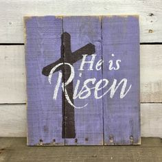 He Has Risen. This hand painted sign would be a beautiful gift for your special someone, as a just because gift or even for yourself. It is a great decoration for Easter or spring in general. Colors on this sign can be easily change to match your personal style. This sign measures approx.14x14. All of my creations are made of reclaimed pallet boards. They are hand painted with happiness and love. All creations are made after they are ordered.  Although I try to duplicate original as closely…