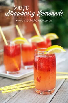 Sparkling Strawberry Lemonade from www.cupcakediariesblog.com