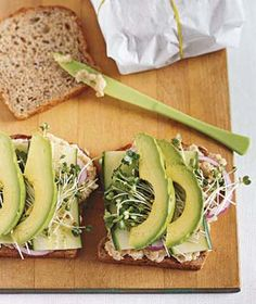 Smashed White Bean and Avocado Club -- When you don't feel like cooking, try this vegetable-laden, open-face sandwich. You can make this sandwich even more quickly by using store-bought hummus in place of the smashed white beans. Real Simple Recipes, Vegan Recipes Easy, Whole Food Recipes, Vegetarian Recipes, Dinner Recipes, Lunch Recipes, Avocado Recipes, Avocado Food, Avocado Health