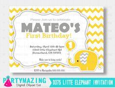 New from Partymazing on Etsy: Elephant Birthday Invitation Printable Invitation Yellow Chevron Elephant  D375 (12.50 USD) For more @partymazing