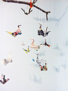 Paper crane and twigs mobile - an easy diy!