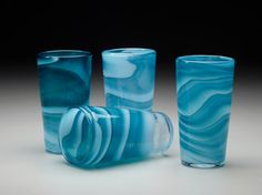 Handblown Glass Tumblers, Blue Water Cups, Set of 6 - Made to Order