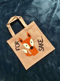 Hand painted jute shopping bag