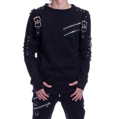 Pullover mit Schnürungen und Schnallen im Gothic Style | VOODOOMANIACS