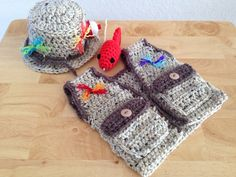 READY TO SHIP - Fishing Fisherman Hat 3 pc Set w/ Vest & Fish, Photography Prop, 0-3M on Etsy, $59.95