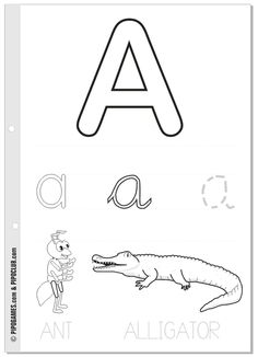 Easy to print--- Printable Activities - THE ALPHABET - A is for Ant and Alligator